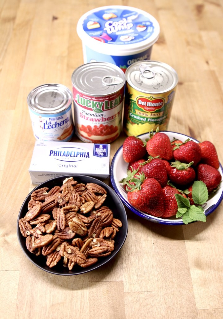 ingredients for strawberry fluff dessert