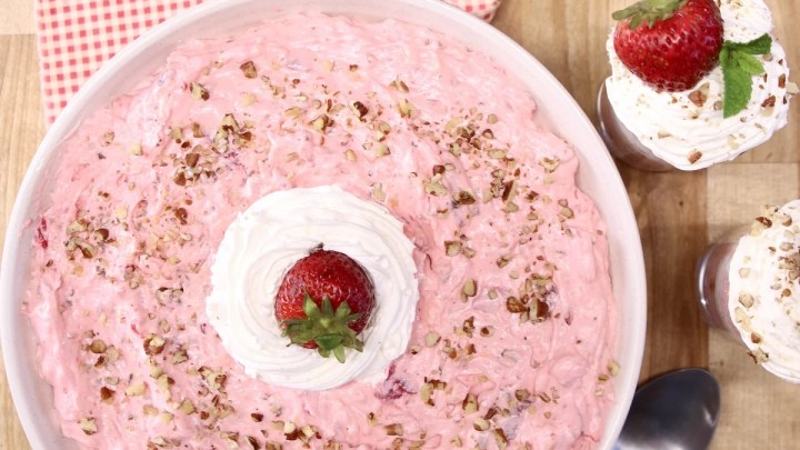 strawberry fluff in a bowl