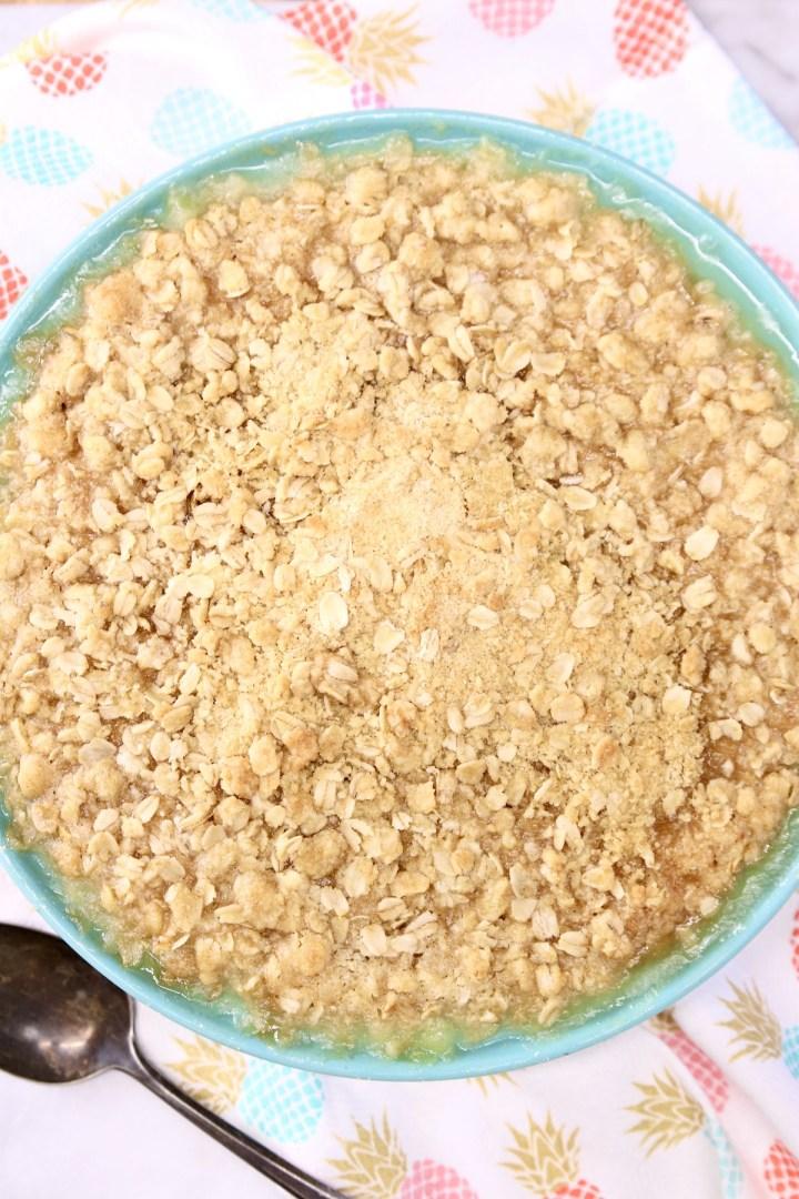 Pineapple Crisp in a blue pie plate - overhead