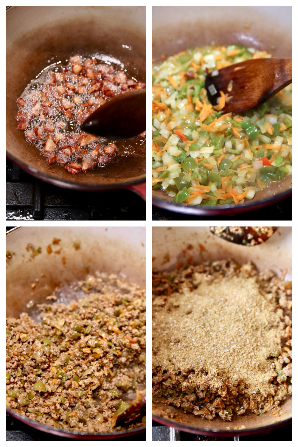 making hot dog chili with bacon, vegetables, ground beef, spices
