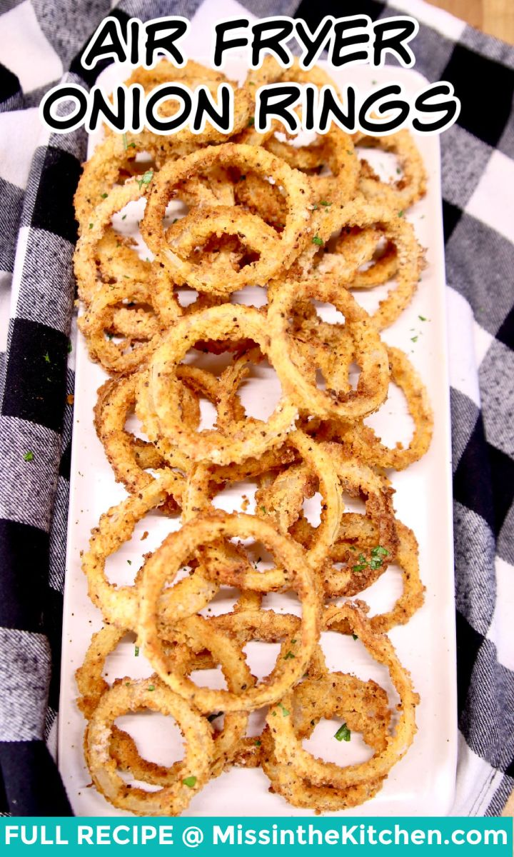 platter of onion rings - text overlay