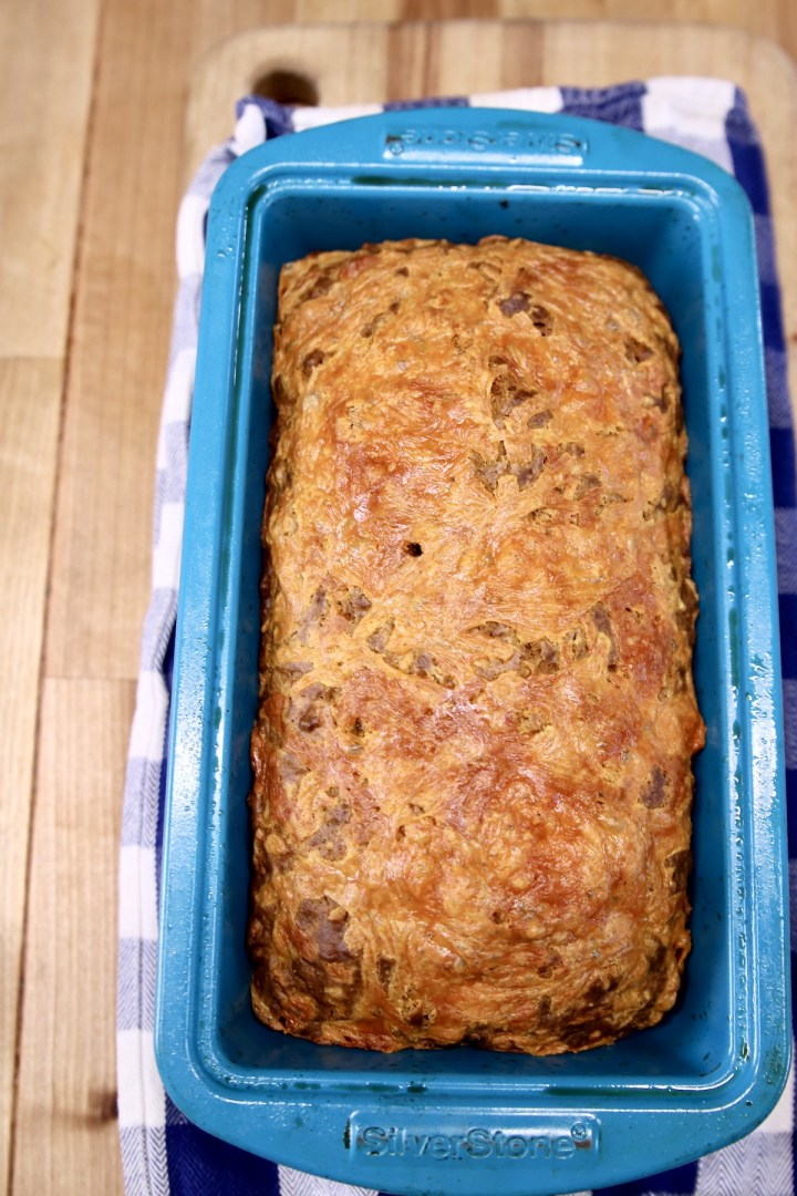 loaf pan with cheddar beer bread
