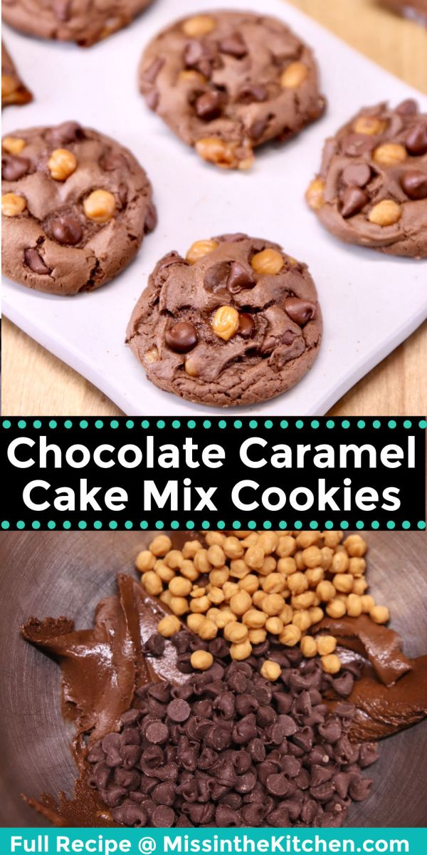 collage of chocolate caramel cookies - baked / dough with chocolate chips