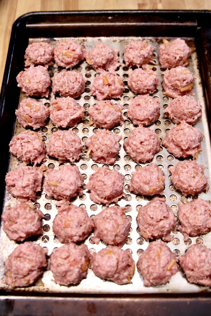meatballs on a grill pan