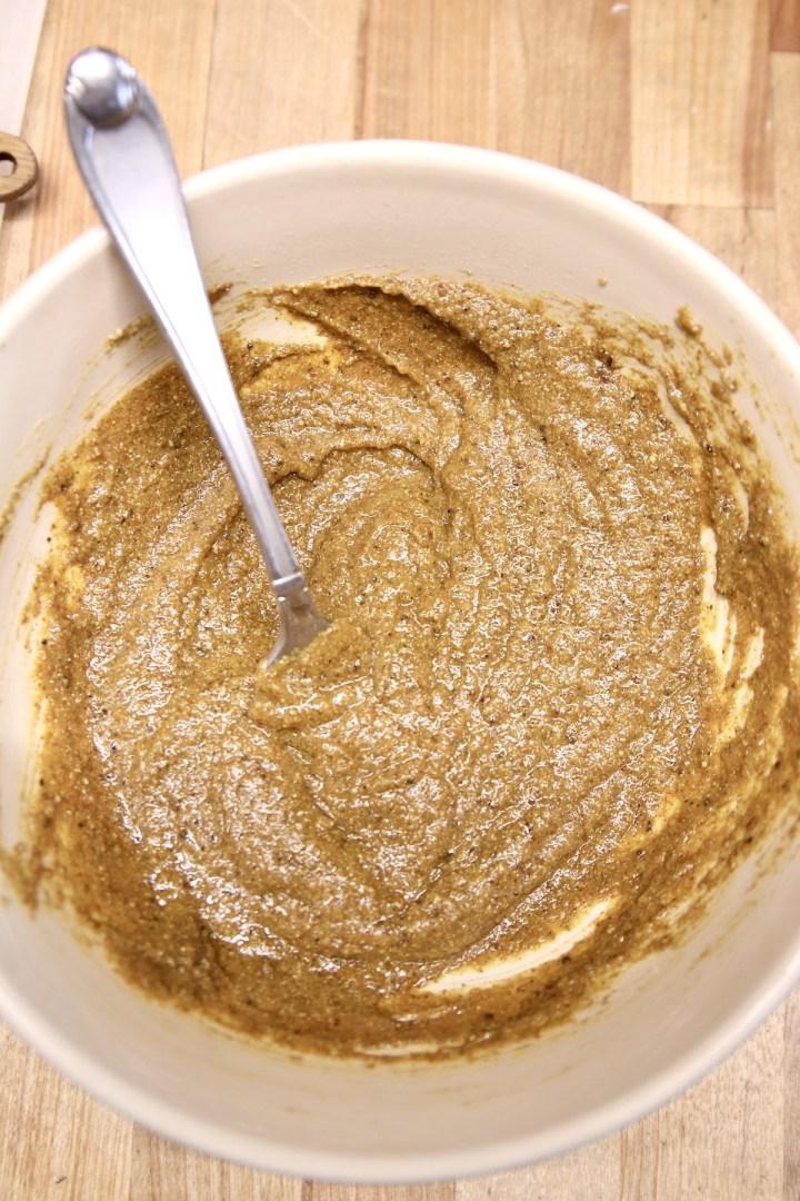 mustard brown sugar glaze in a bowl