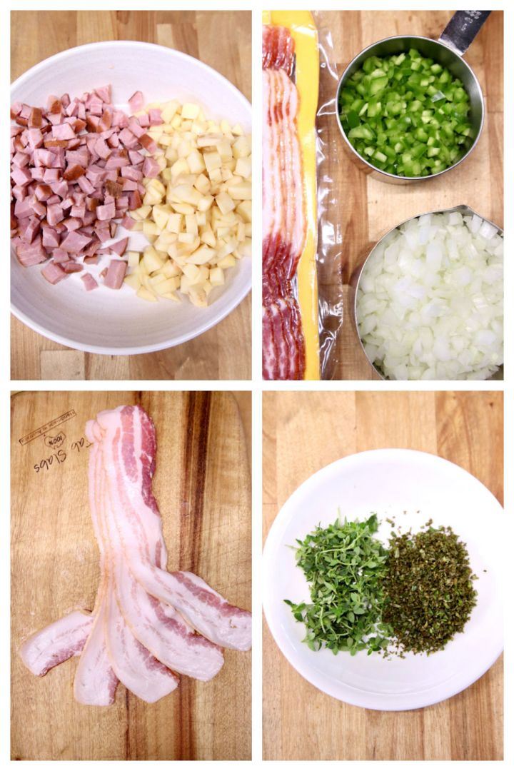 collage of ingredients for ham and cheese soup