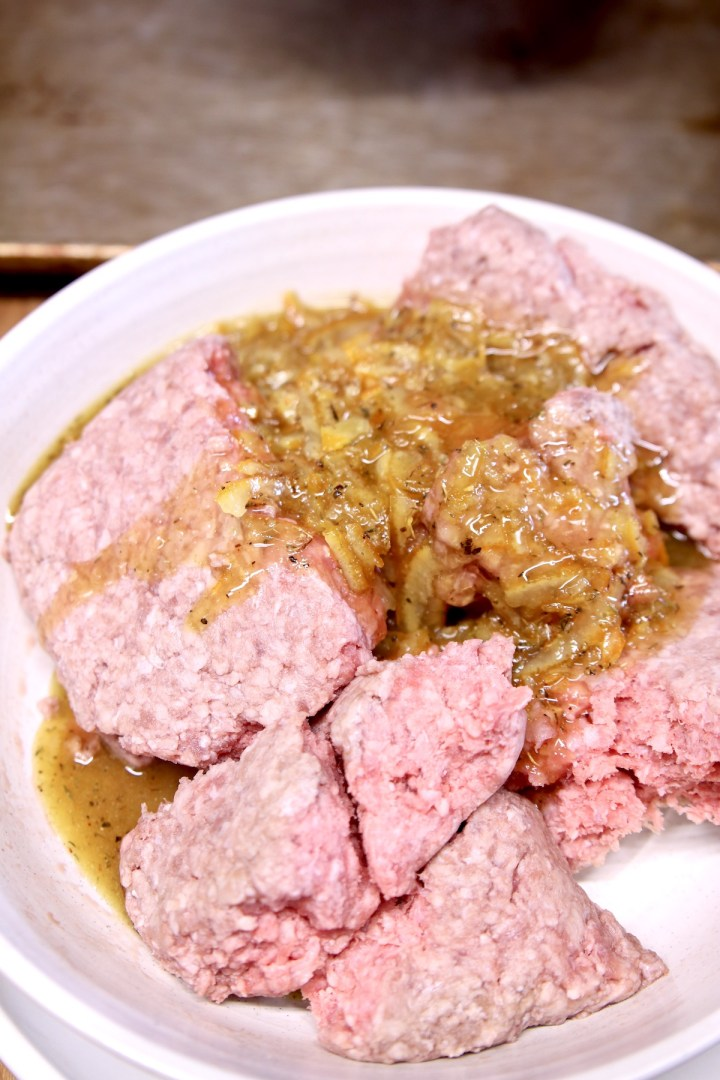 ground beef with orange sauce to make meatballs