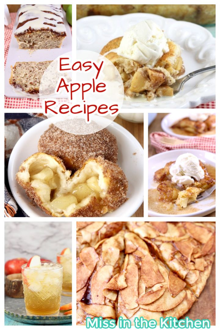 collage of baking recipes and drinks featuring apples