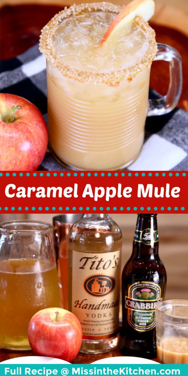 caramel apple mule cocktail collage: in glass/ ingredients