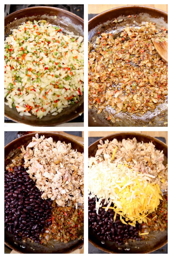 collage making filling for Mexican Chicken Cornbread