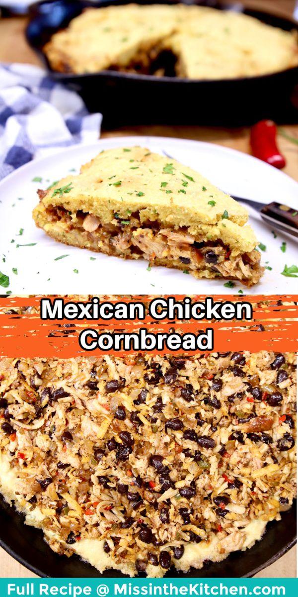 collage: Mexican cornbread - slice on a plate/filling over cornbread layer