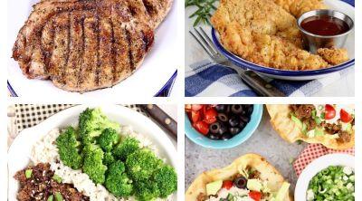 Quick dinner recipe collage: pork chops, chicken strips, korean ground beef, taco salad