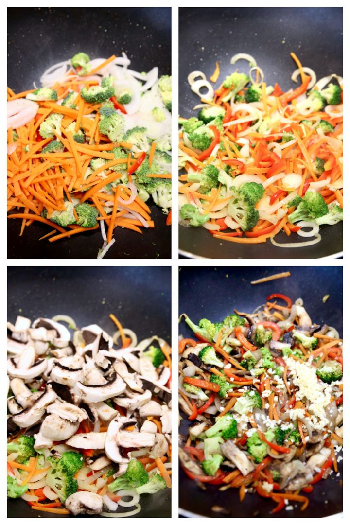 collage of cooking stir fry vegetables