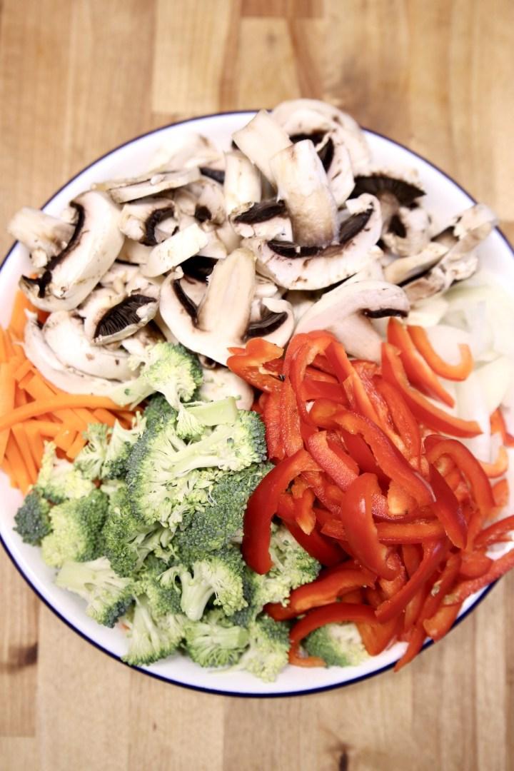 sliced vegetables for stir fry
