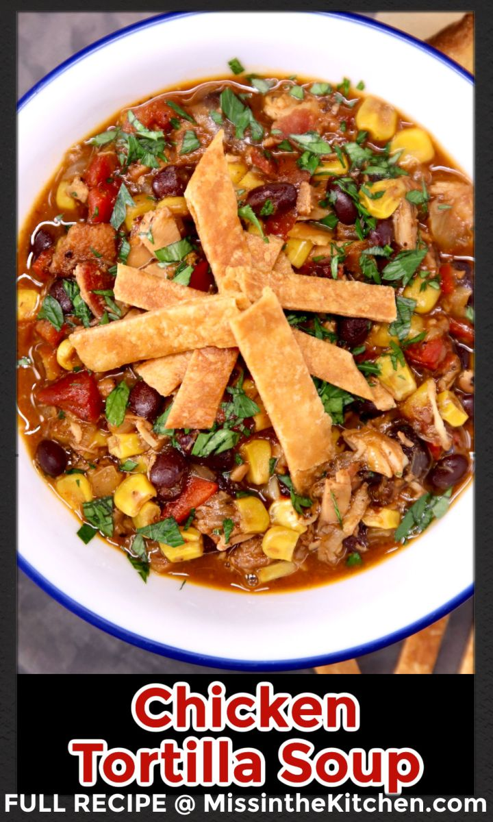 chicken tortilla soup in a bowl - text overlay