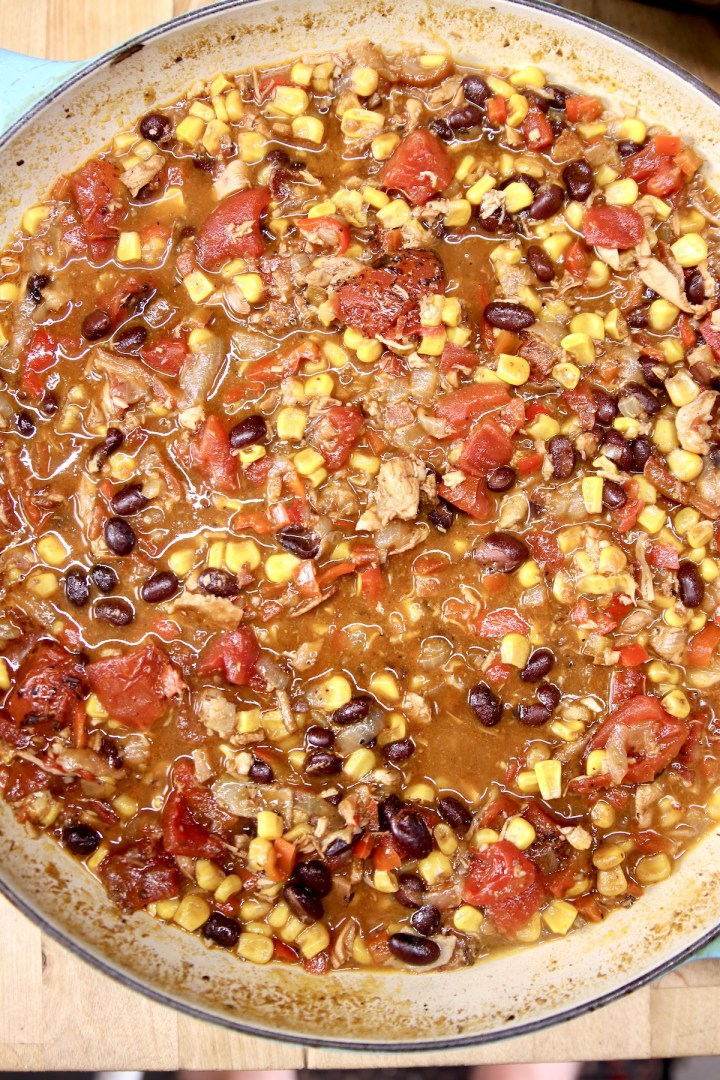 pan with chicken tortilla soup with corn and black beans