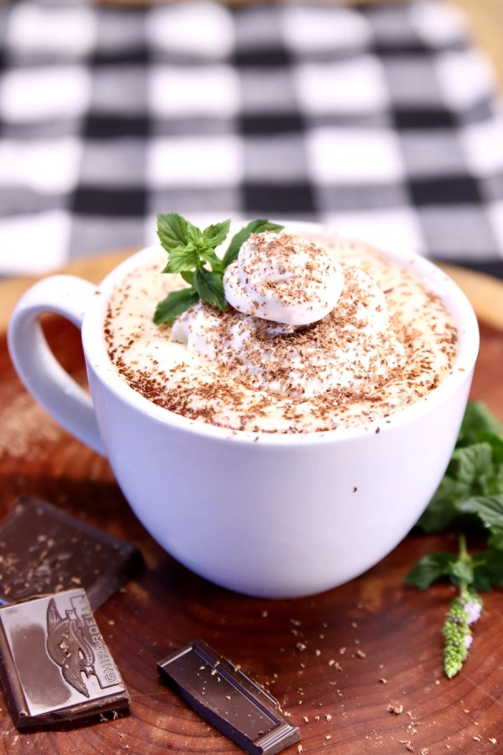 peppermint hot cocoa in a mug on a wood board with chocolate squares, fresh mint