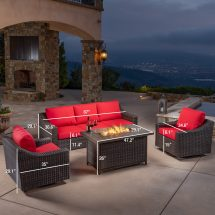 Brandemore 4pc Motion Fire Chat Set - Red Mission Hills