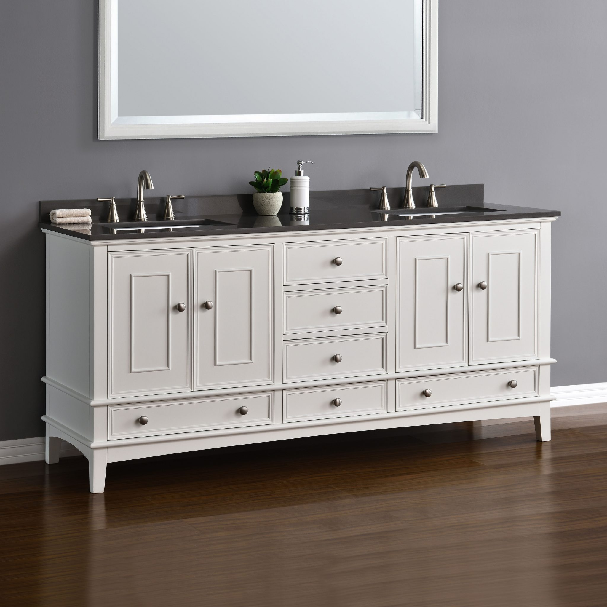 Cambridge 72 White Double Sink Vanity  Mission Hills