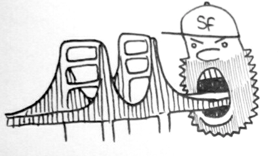 Here's a drawing of an angry, bearded San Franciscan