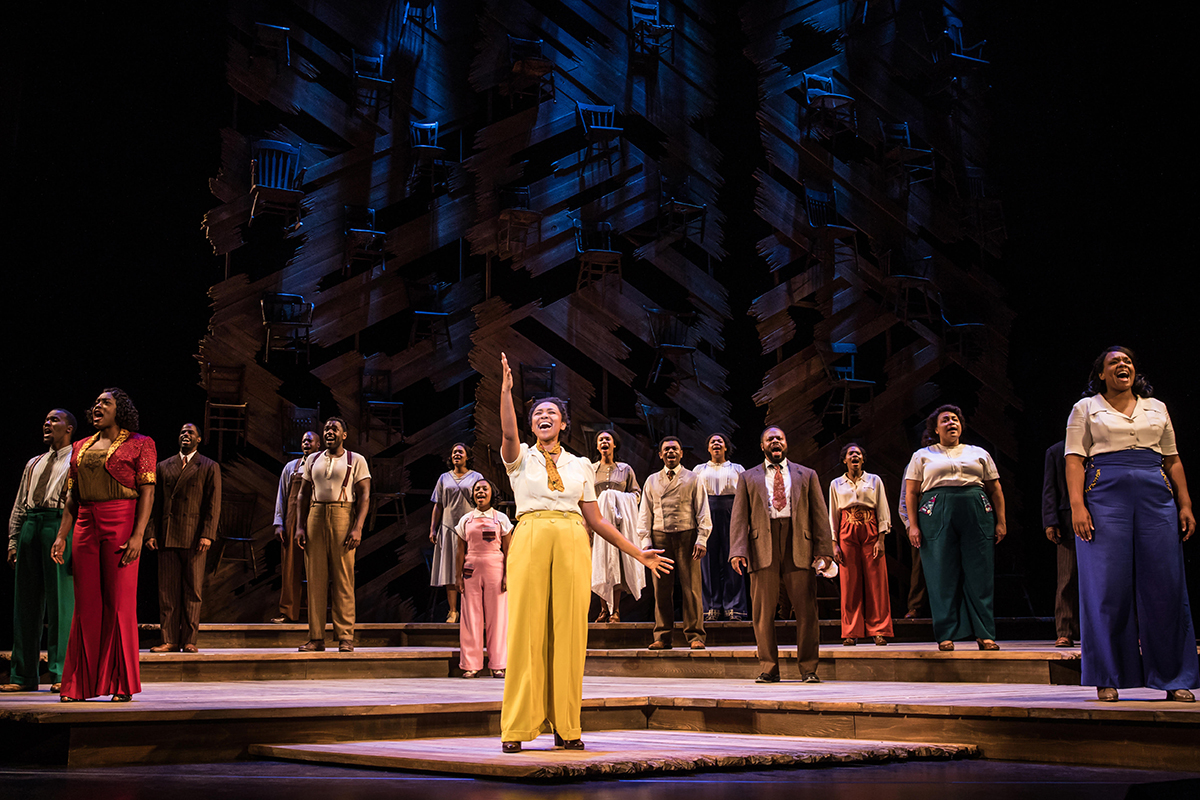 Photo by Matthew Murphy.  Adrianna Hicks (Celie) and the North American tour cast of THE COLOR PURPLE.