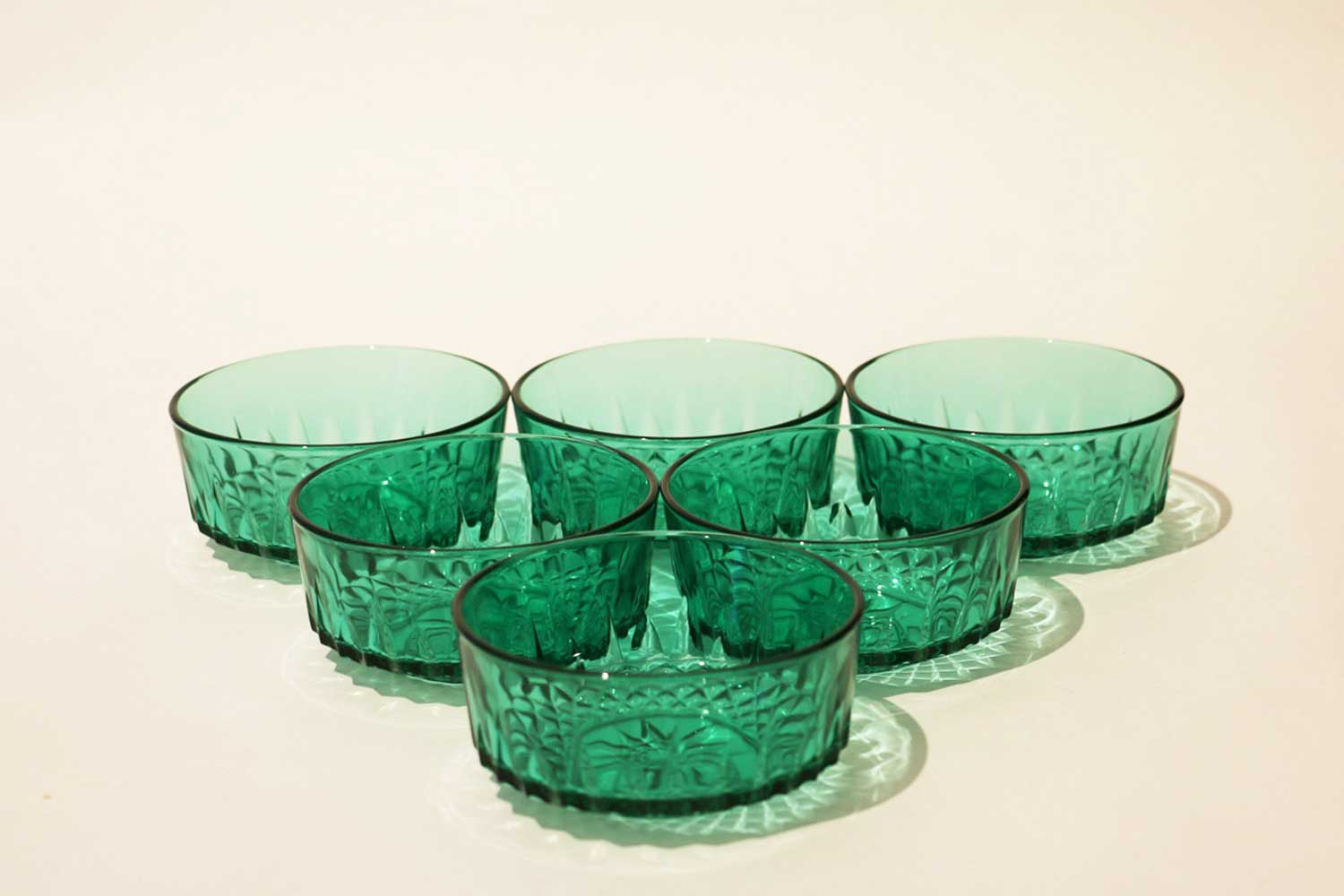 Green glass dessert bowls
