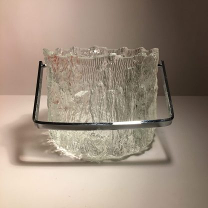 1970s vintage Pukberg ice bucket glass and chrome at mission modern c