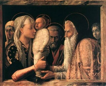 Painting of Simeon meeting Mary and the Baby Jesus in the Temple.