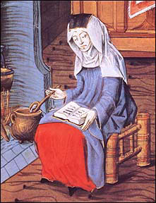 Painting of Margery Kempe sitting in front of the hearth, stirring a pot, and reading.