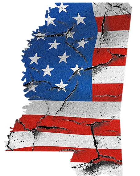 Map of Mississippi made of damaged American Flag to signify the breakdown in our nation and state concerning the opioid epidemic.