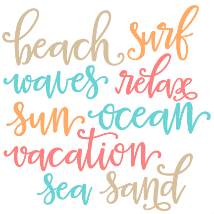 Download Beach Words SVG scrapbook cut file cute clipart files for ...