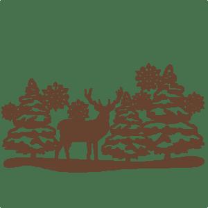 Reindeer Winter Scene SVG Scrapbook Cut File Cute Clipart