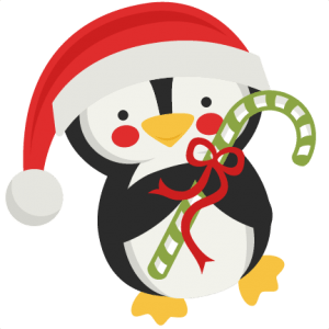 penguin holding candy cane svg