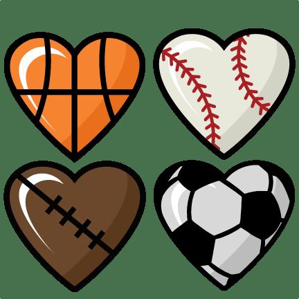 sports hearts set scrapbook cut