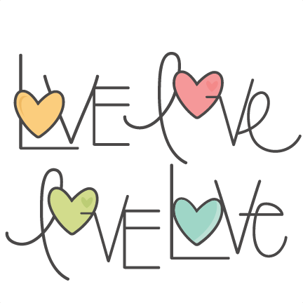 love word set svg scrapbook cut