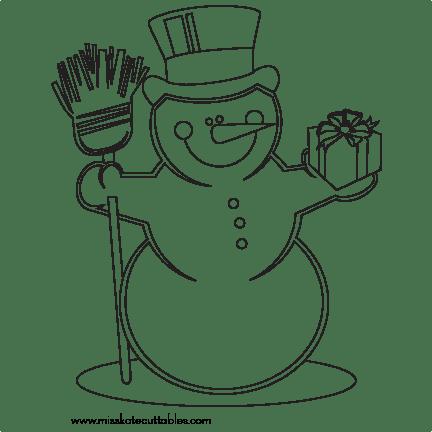 Snowman Coloring Page SVG scrapbook cut file cute clipart
