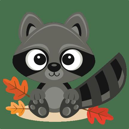 fall raccoon svg scrapbook cut