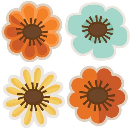 assorted fall flowers svg cut files