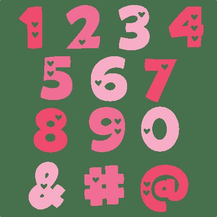 Valentine Numbers SVG Cut Files Valentine Alphabet Svg