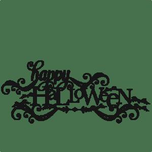Happy Halloween SVG scrapbook title SVG cutting files crow