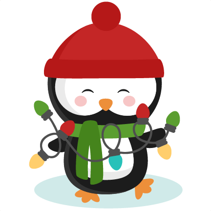 penguin with christmas lights svg