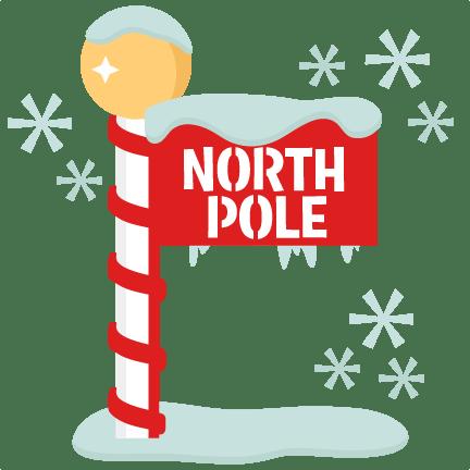 North Pole Sign scrapbook title winter svg cut file
