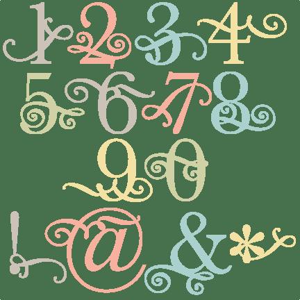 Download Flourish Number Set SVG scrapbook cut file cute clipart ...