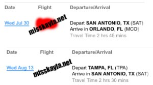 Florida flight itinerary for Miss Kayla