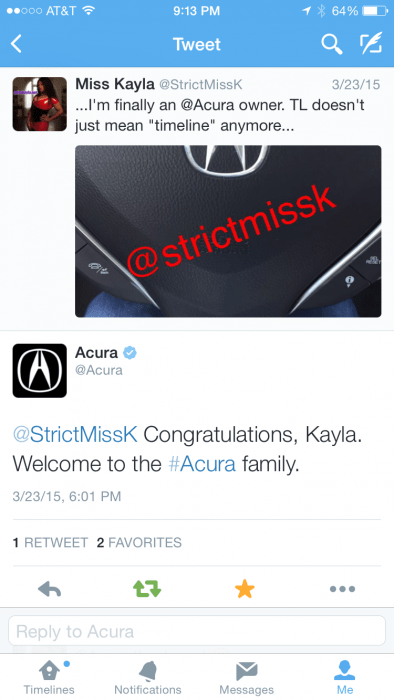 Acura is fucking awesome for tweeting Me back!