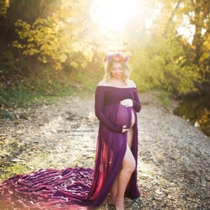 open belly maternity dress, open front maternity gown, Chiffon maternity gown, tossing train, open belly chiffon gown, off the shoulder long sleeve