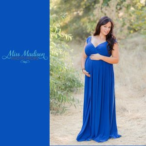 Jersey knit maternity dress, maxi style, sweetheart neckline, off the shoulder cap sleeves