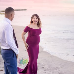 fitted maternity dress, Fitted Maternity Gown, sleeve Option, jersey knit