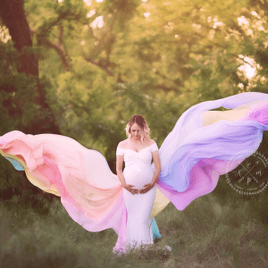 rainbow maternity gown for photoshoot, maternity dress photography, baby shower dress, rainbow baby