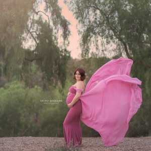 Chiffon tossing train, gown for photoshoot, maternity dress for photography, baby shower
